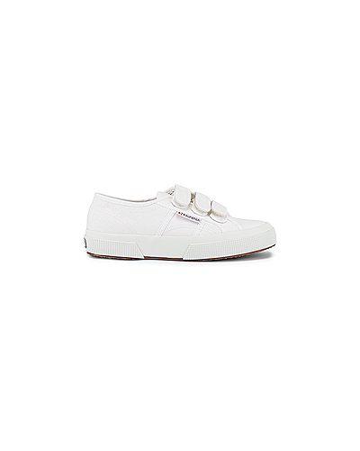 Белые текстильные кроссовки на липучках на бретелях Superga