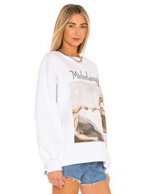 Biały sweter bawełniany z printem Selkie