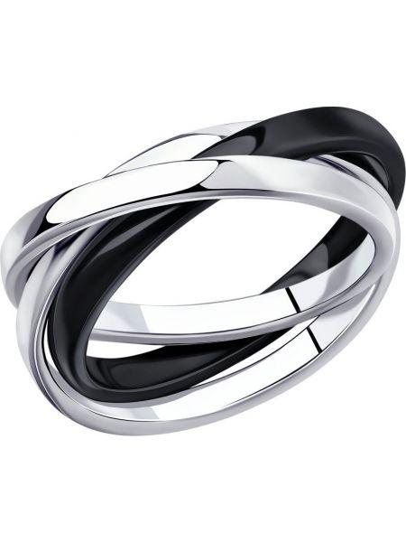 Кольцо из серебра черный Sokolov