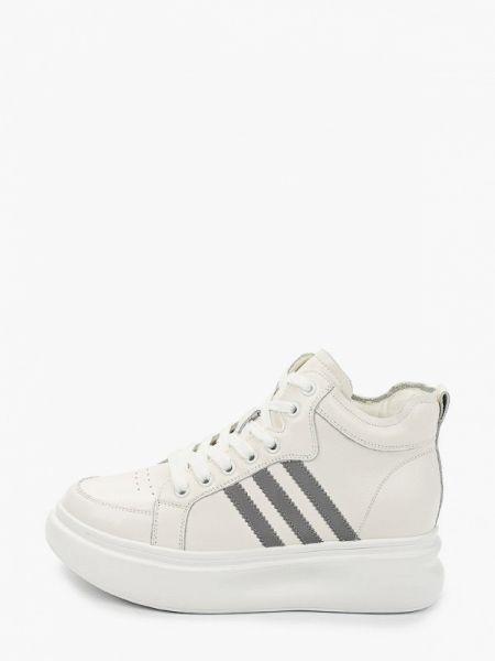 Белые высокие кроссовки из натуральной кожи Berkonty
