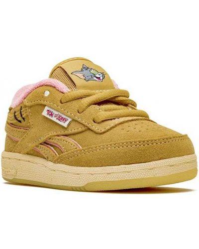 Хлопковые коричневые кроссовки на шнуровке с заплатками Reebok Kids