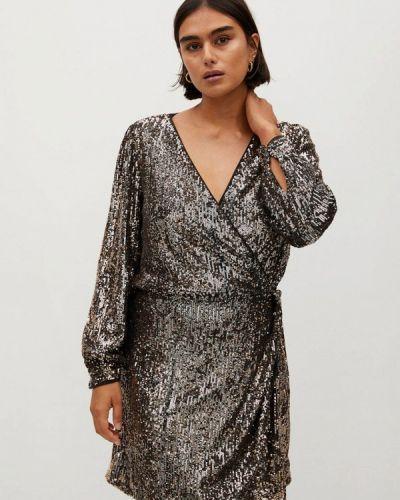 Коричневое вечернее платье Violeta By Mango