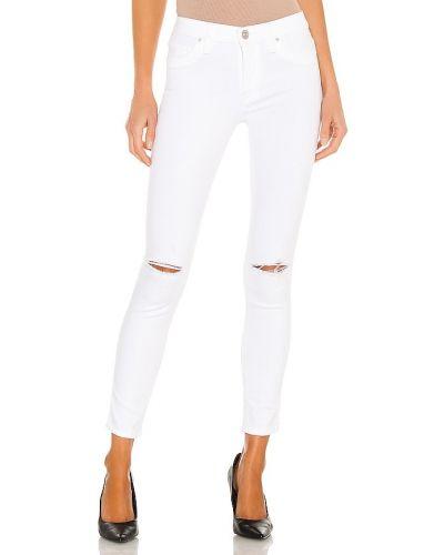 Хлопковый укороченный белый кроп-топ Hudson Jeans