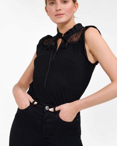Czarny top koronkowy bez rękawów Orsay