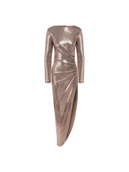 Приталенное платье с пайетками с драпировкой с вырезом A La Russe