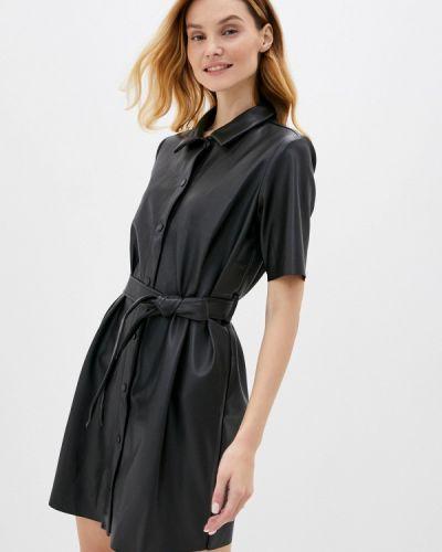 Кожаное черное платье Noisy May