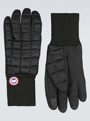 Miękki czarny nylon rękawiczki z mankietami Canada Goose