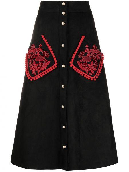 С завышенной талией черная юбка с вышивкой на пуговицах Stella Jean