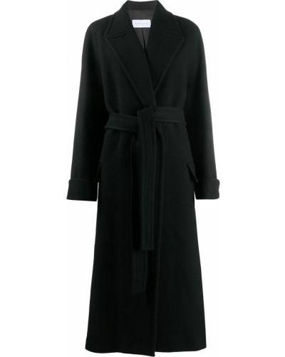 Черное шерстяное пальто классическое с поясом с запахом Christian Wijnants