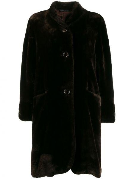 Коричневое свободное пальто классическое с воротником на пуговицах Pierre Cardin Pre-owned