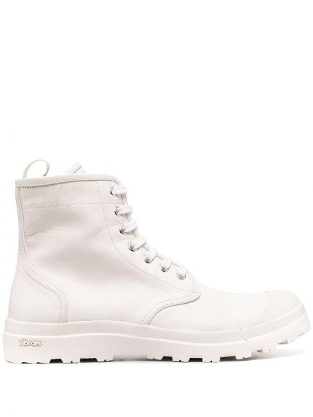 Ażurowy skórzany biały buty na pięcie zasznurować Officine Creative
