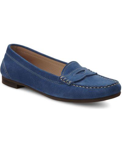 Мокасины синие кожаные Ecco