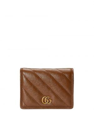 Brązowy portfel z prawdziwej skóry z gniazdem Gucci