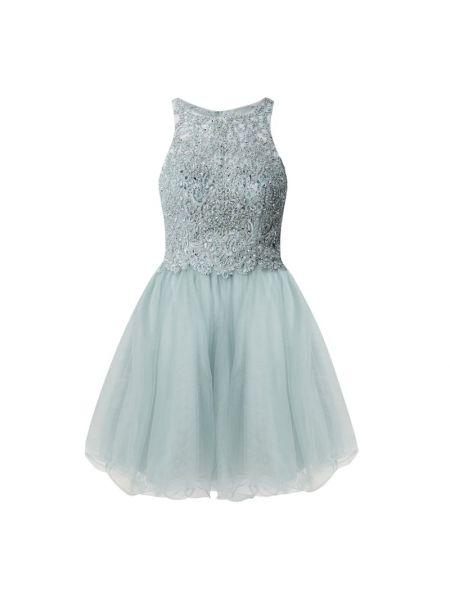 Sukienka koktajlowa rozkloszowana z cekinami turkusowa Laona