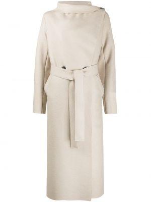Шерстяное длинное пальто с поясом на пуговицах свободного кроя Harris Wharf London