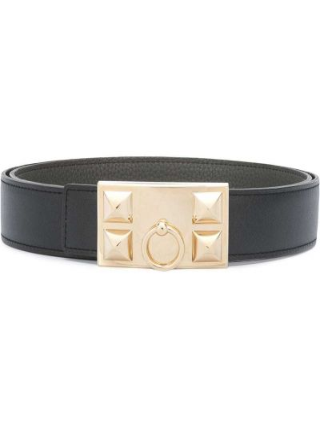 Черный кожаный ремень с заклепками Hermès