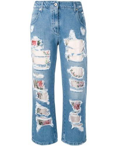Укороченные джинсы с поясом на пуговицах в стиле бохо Blumarine