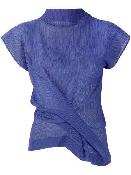 С рукавами синяя блузка с воротником Nina Ricci