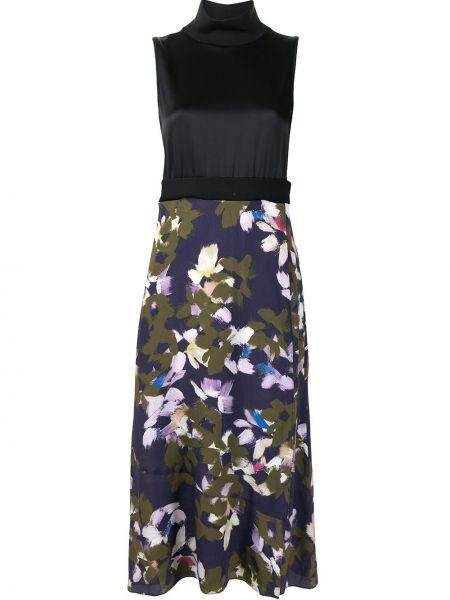 Шелковое черное платье миди в цветочный принт Dorothee Schumacher