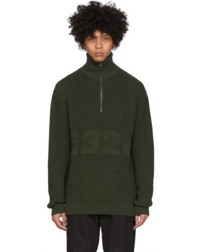 Zielony długi sweter wełniany z długimi rękawami 032c