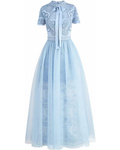 Платье мини в горошек с цветочным принтом Elie Saab