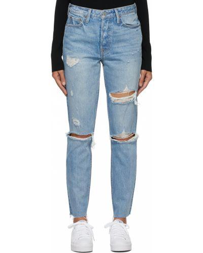 Niebieskie jeansy z paskiem srebrne Grlfrnd