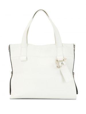 Кожаная белая сумка-тоут на молнии Discord Yohji Yamamoto