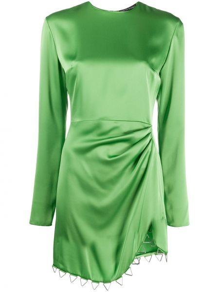 Zielona sukienka koktajlowa asymetryczna z długimi rękawami David Koma
