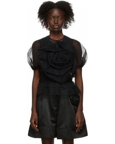 Черная блузка с короткими рукавами Simone Rocha