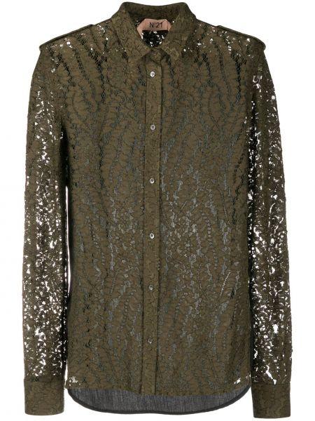 Ажурная классическая рубашка с воротником из вискозы с длинными рукавами N°21