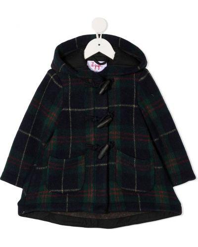 Шерстяное пальто классическое в клетку с капюшоном Il Gufo