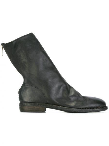 Czarny buty skórzane z prawdziwej skóry Guidi