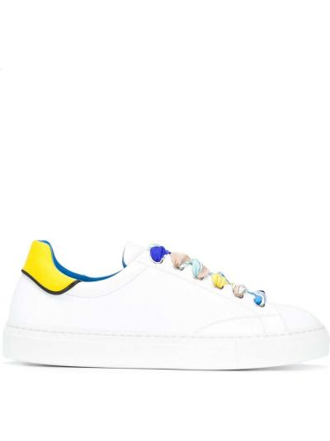 Koronkowa biały sneakersy na sznurowadłach z prawdziwej skóry Emilio Pucci