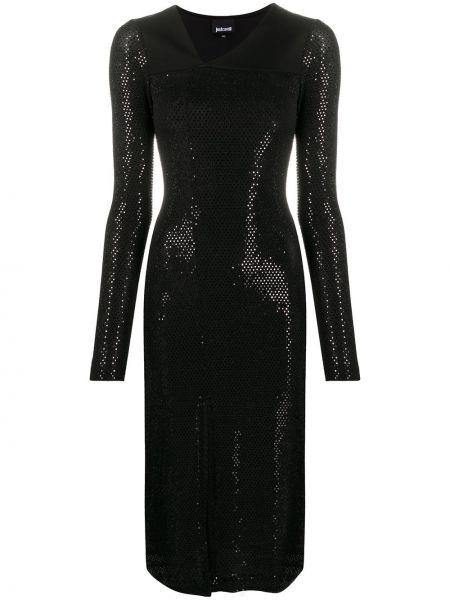 Приталенное черное платье макси с длинными рукавами Just Cavalli