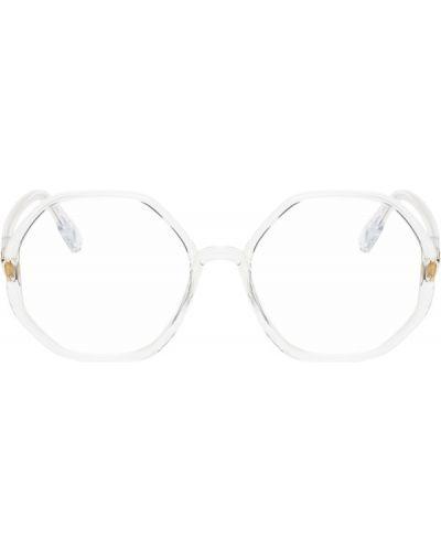 Очки для зрения золотые прозрачные из натуральной кожи Dior