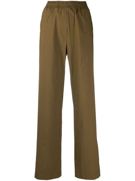 Прямые хлопковые зеленые брюки Odeeh