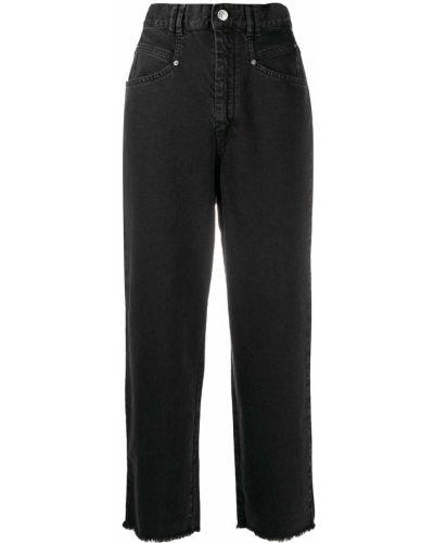 С завышенной талией хлопковые черные джинсы с бахромой Isabel Marant
