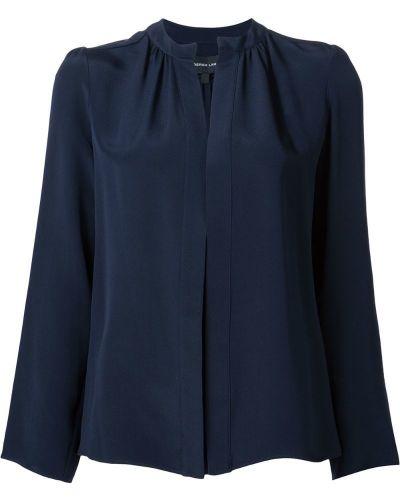 Синяя рубашка с воротником-стойкой Derek Lam