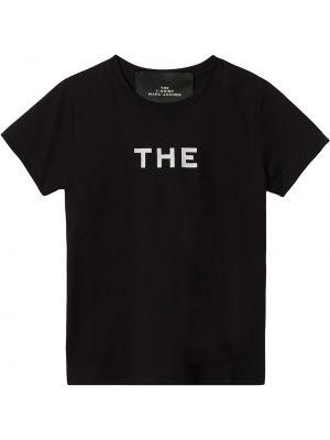 Хлопковая с рукавами черная рубашка Marc Jacobs