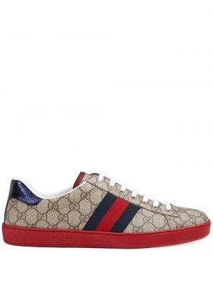 Ażurowy brezentowy sneakersy na sznurowadłach okrągły Gucci
