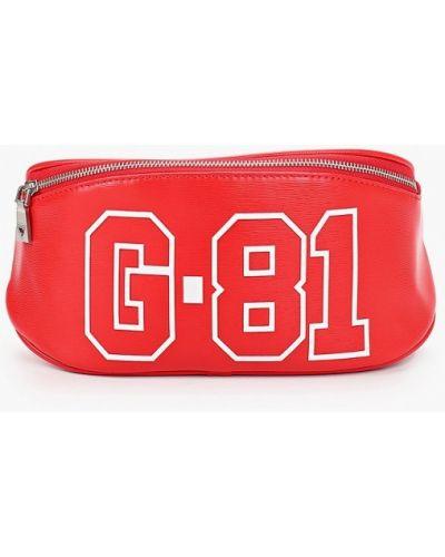 Кожаная красная поясная сумка Guess