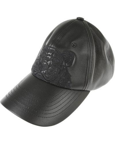 Czarna czapka zimowa skórzana na rzepy Kenzo
