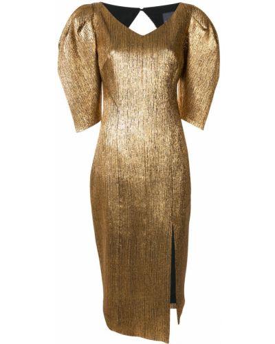 Брендовое желтое с рукавами платье мини Ginger & Smart