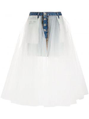 Синяя джинсовая юбка из фатина с надписью на пуговицах Unravel Project