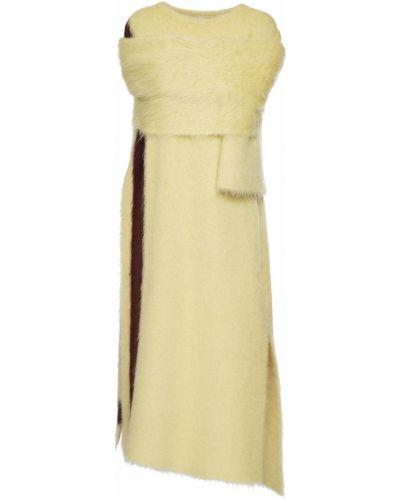 Желтый кейп из мохера с разрезами по бокам Jil Sander