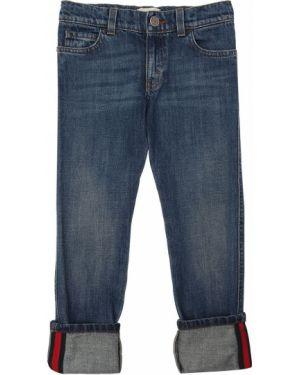 Jeansy na gumce niebieski Gucci