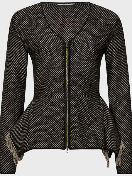Черный пиджак на молнии из вискозы Roland Mouret