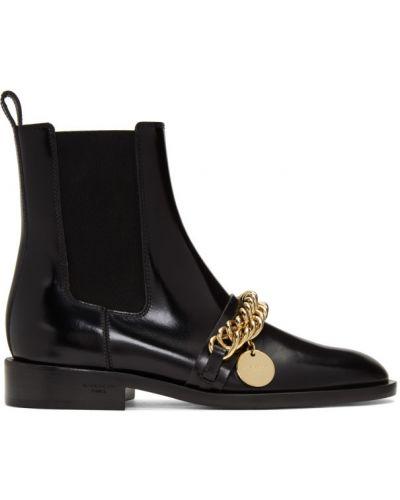 Skórzany czarny buty obcasy prążkowany kaskada Givenchy