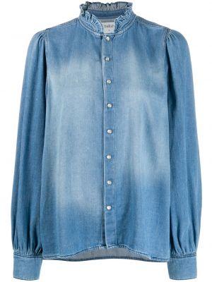 Прямая джинсовая рубашка с оборками Ba&sh