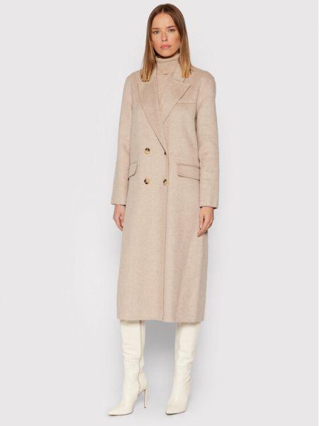 Płaszcz wełniany - beżowy Selected Femme